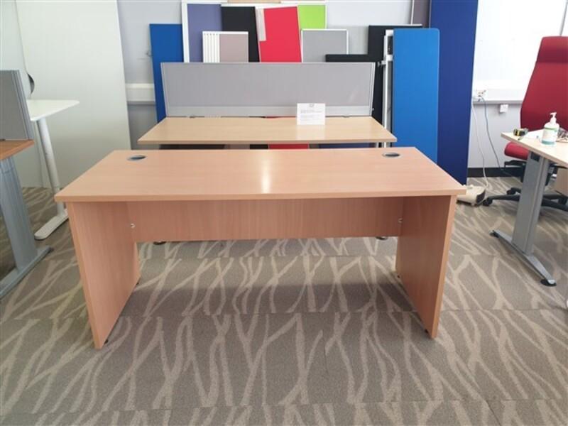 Beech desk with modesty panel