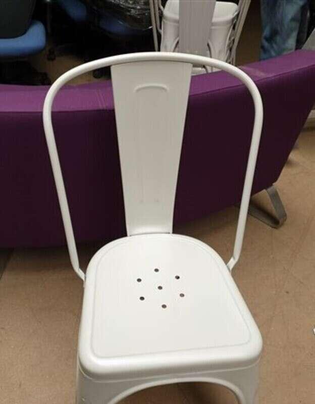 Bare metal Tolix metal cafeacute chair