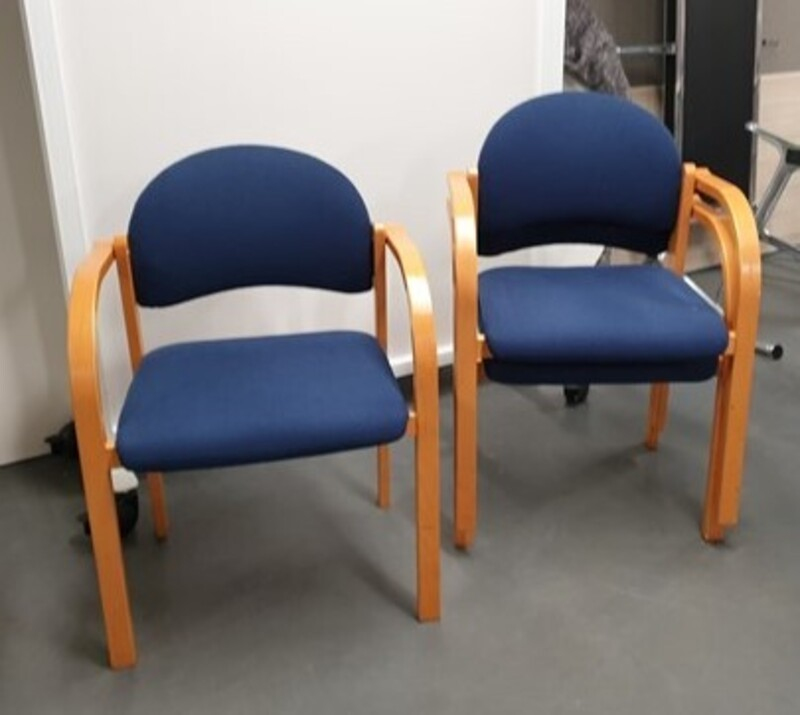 Stackable blue chairs