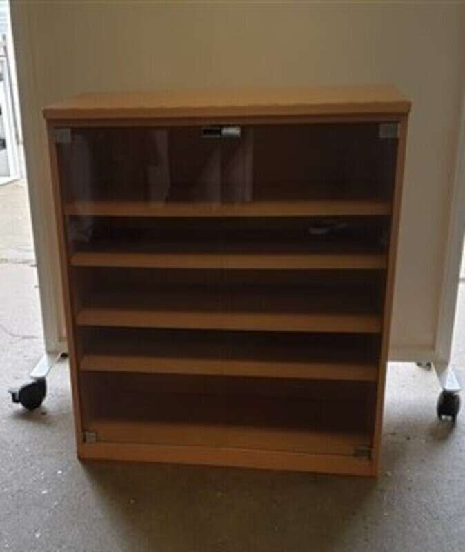 Shelving unit with glass doors