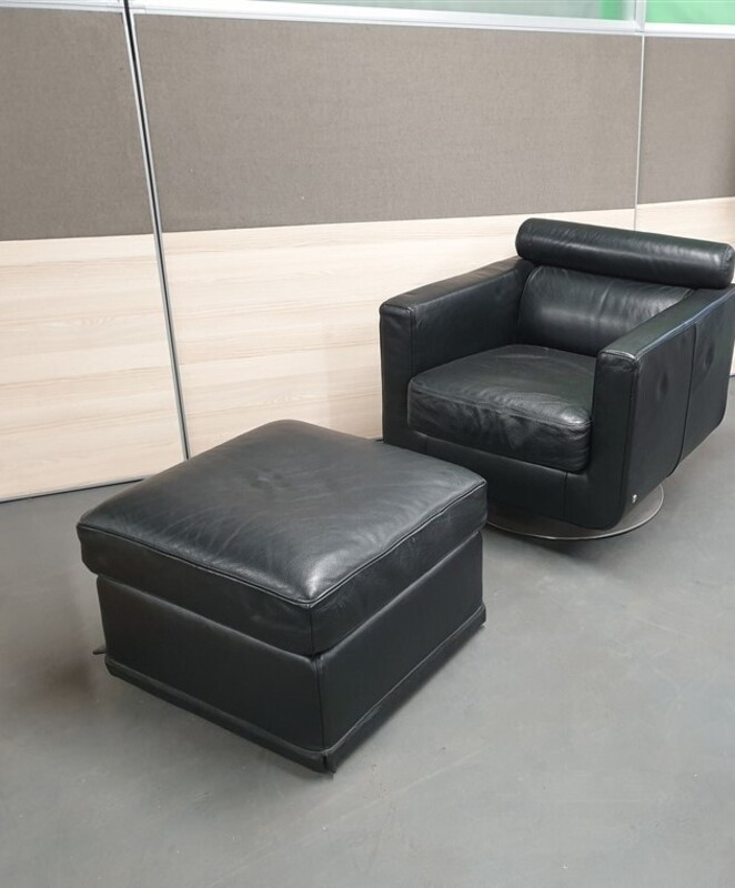 Ellis Style Black leather chair and footstool