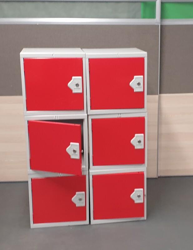 Metal lockers red door