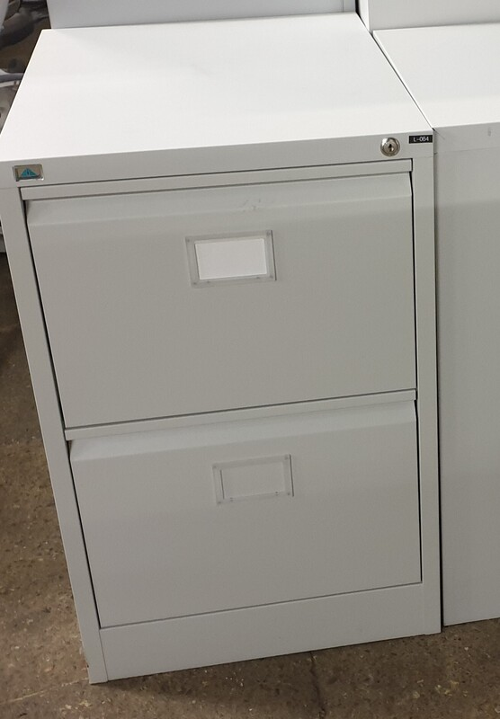 2 drawer light grey filing cabinet