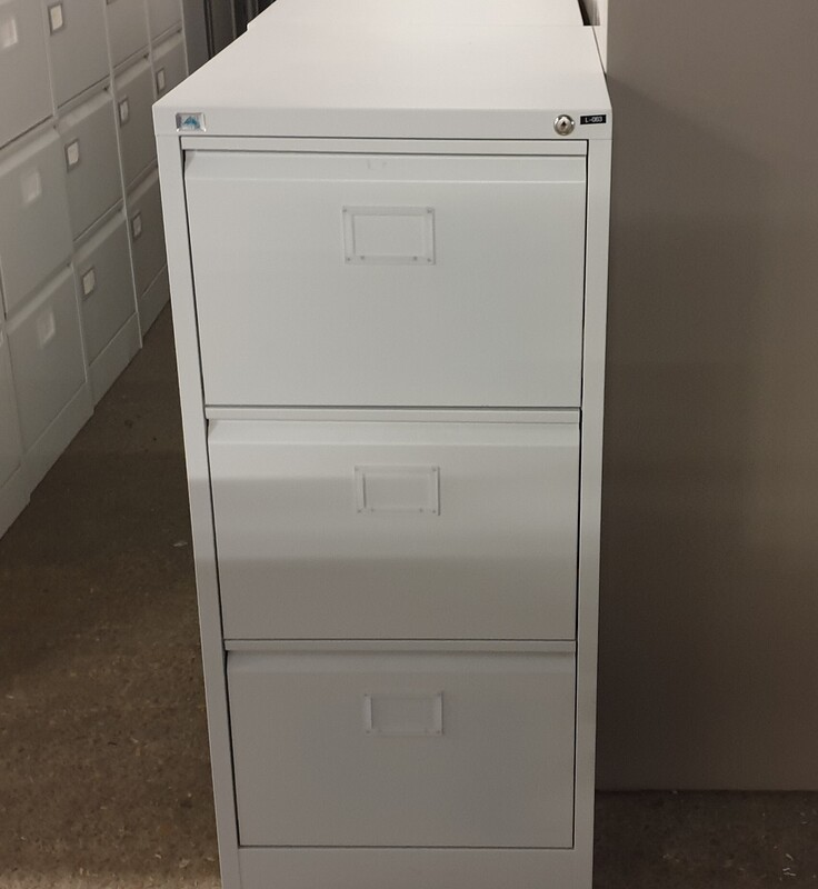Light grey 3 drawer filing cabinet