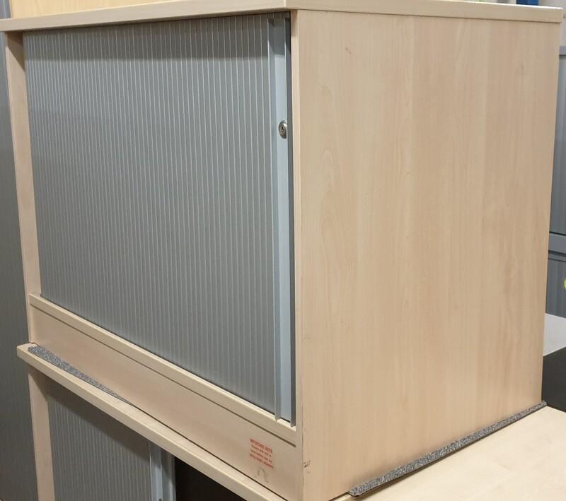 Desk high maple tambour