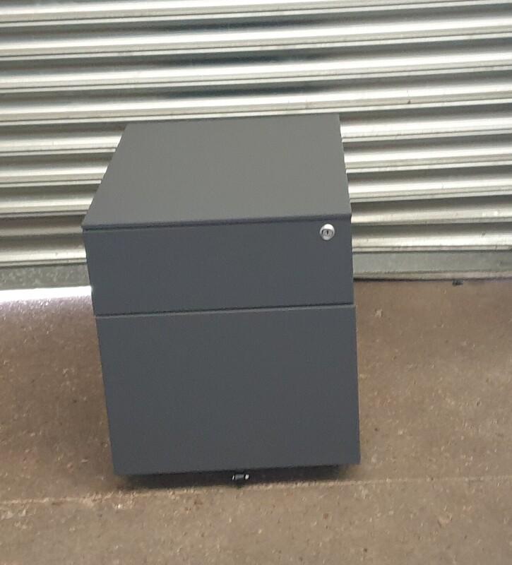 Graphite metal 2 drawer pedestal