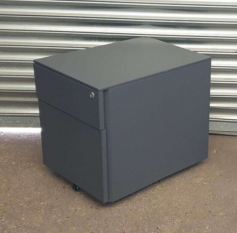 Graphite metal 2 drawer pedestal