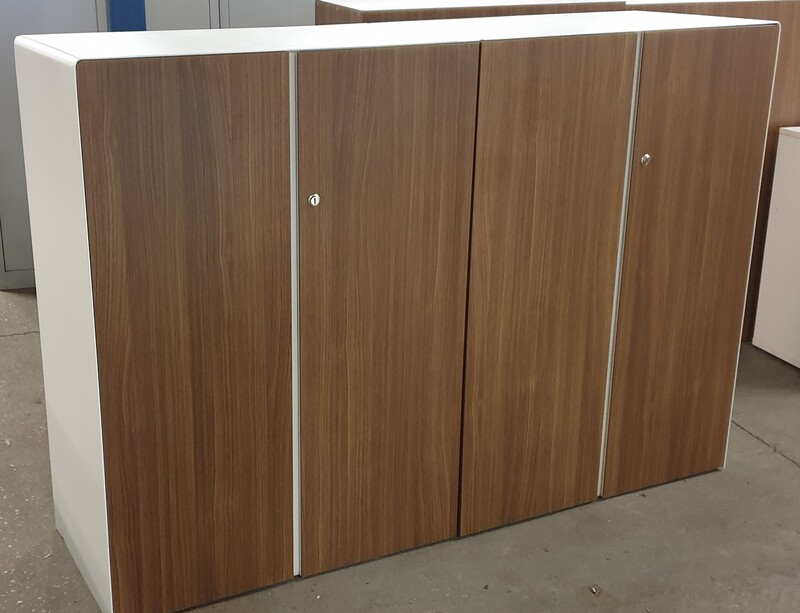 Walnut and white cupboards (Sold as a pair)