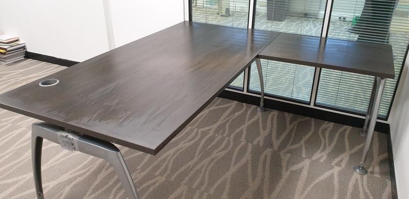 Walnut desk with return
