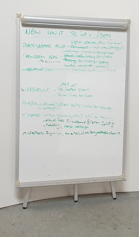 Whiteboard and flip chart
