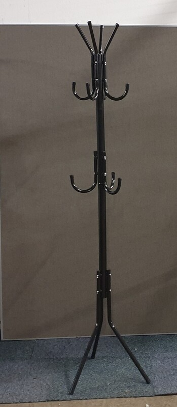 Shiny black hat and coat stand