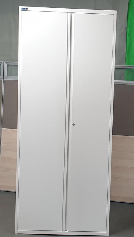 Silverline Tall White Metal Cupboard