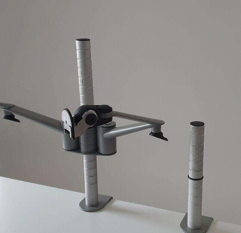 Grey dual monitor arm
