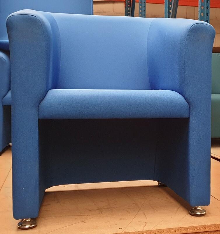 Royal blue fabric tub chair