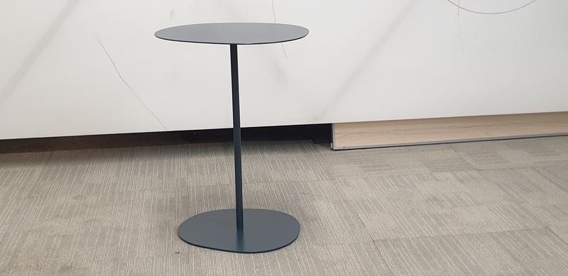 Graphite metal kidney shape table
