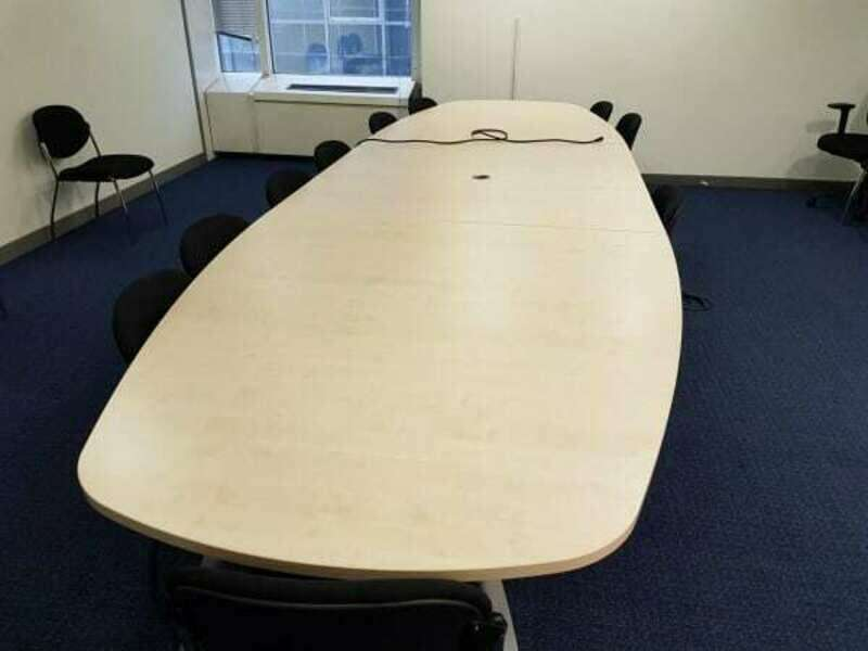 6000 or 4800 x 1400/900mm Gresham maple boardroom table