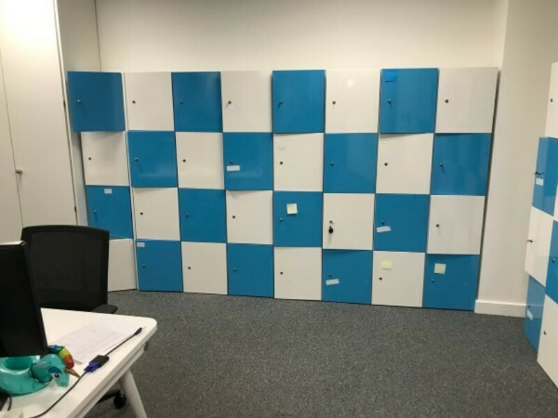 Blue and white wooden lockers