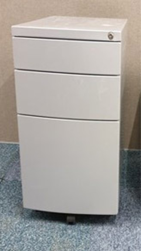 Grey metal bow fronted slimline pedestal