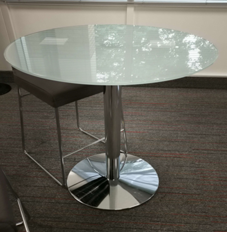 750mm diameter frosted glass table