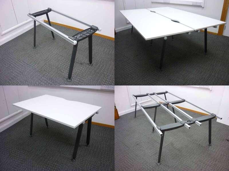 Herman Miller Abak graphite desk frames with various tops