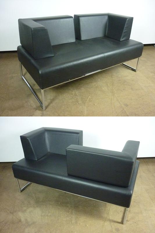 Allermuir Pause black leather sofas