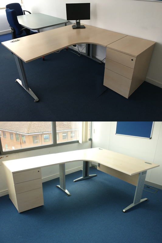 1600amp 1800mm FFC Balancia maple radial desk with optional extensions