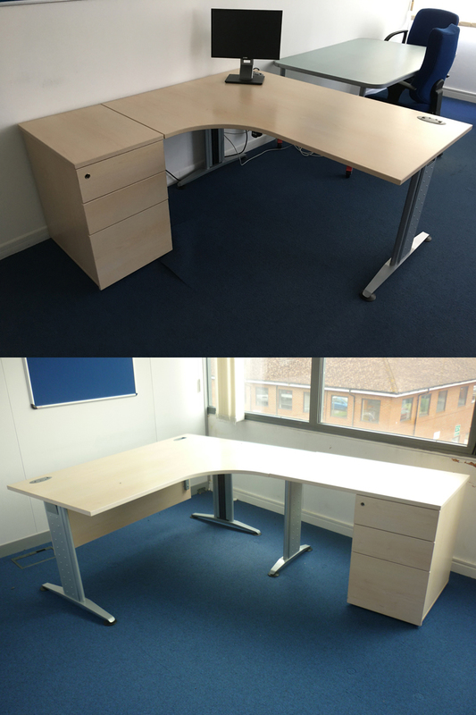 1600mm FFC Balancia maple radial desk with optional extensions