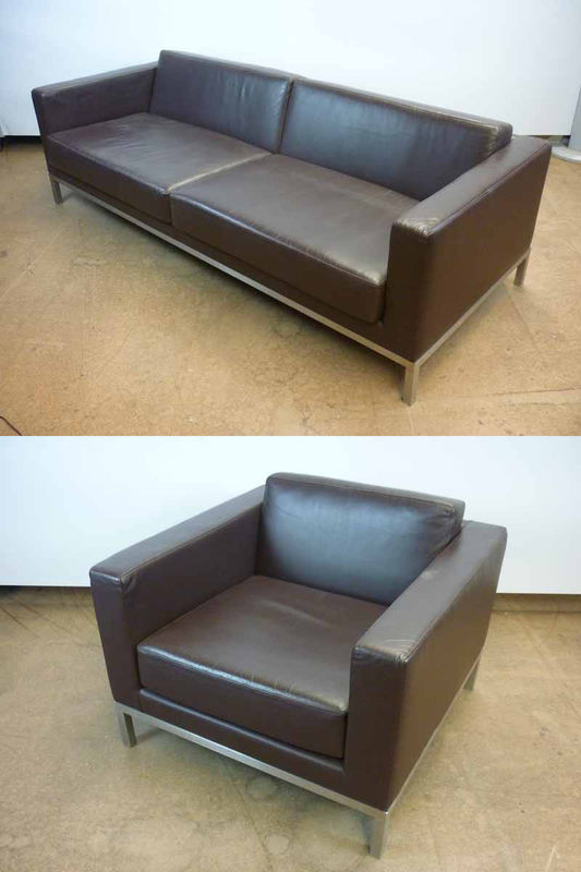 Brown leather sofa and armchair