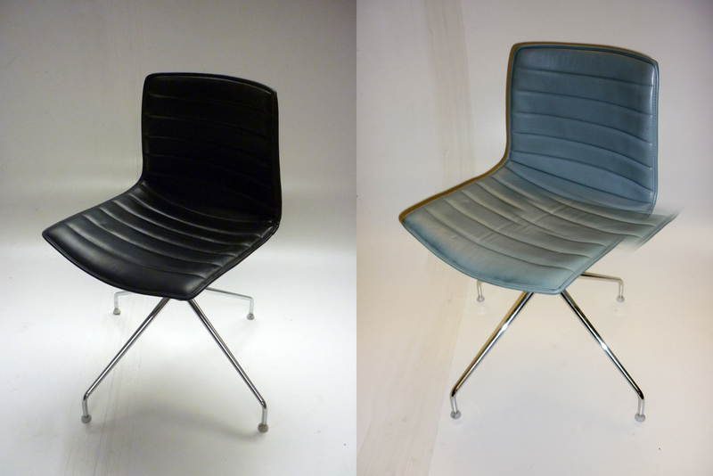 Arper Catifa 46 leather trestle base chairs