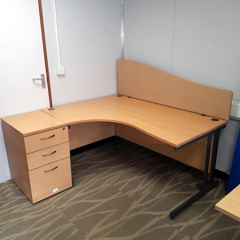 1600x800mm Beech corner desk, desk high pedestal & Screen