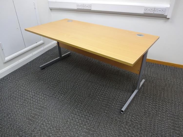 Beech 1600mm rectangular desk