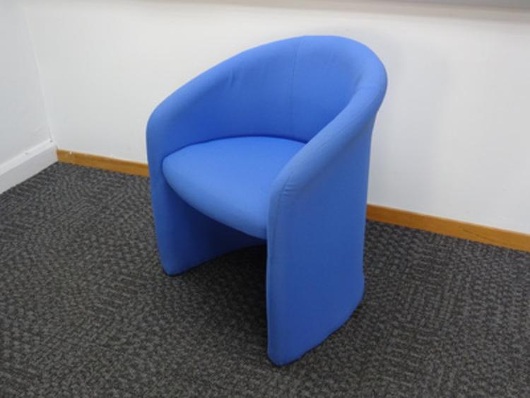 Sky blue fabric tub chair