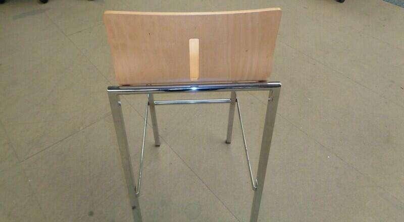 Beech wood and chrome frame stool