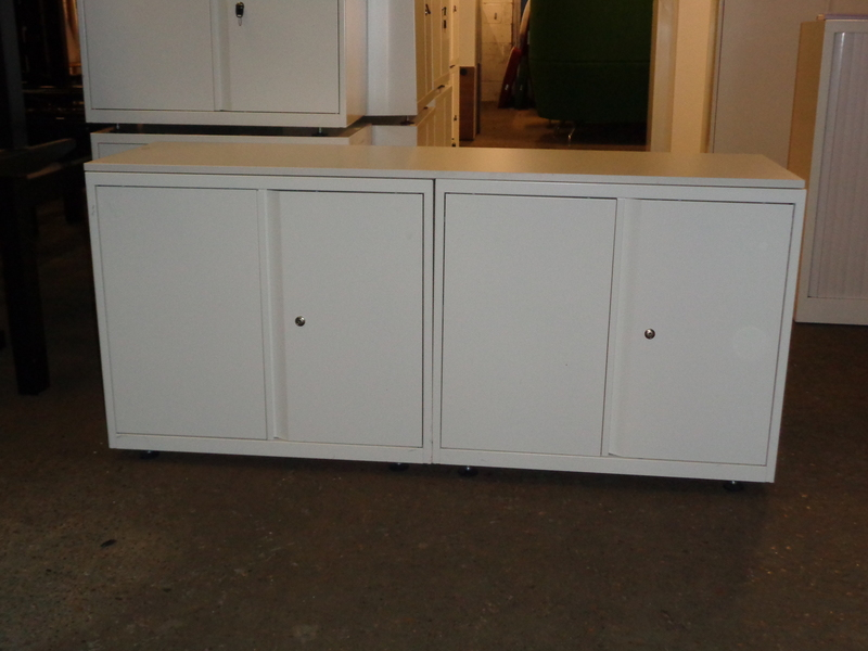 White metal cupboards pair or single Priced per cupboard
