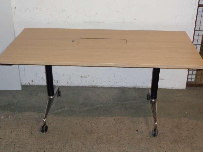 Light Oak flip top table with electrics