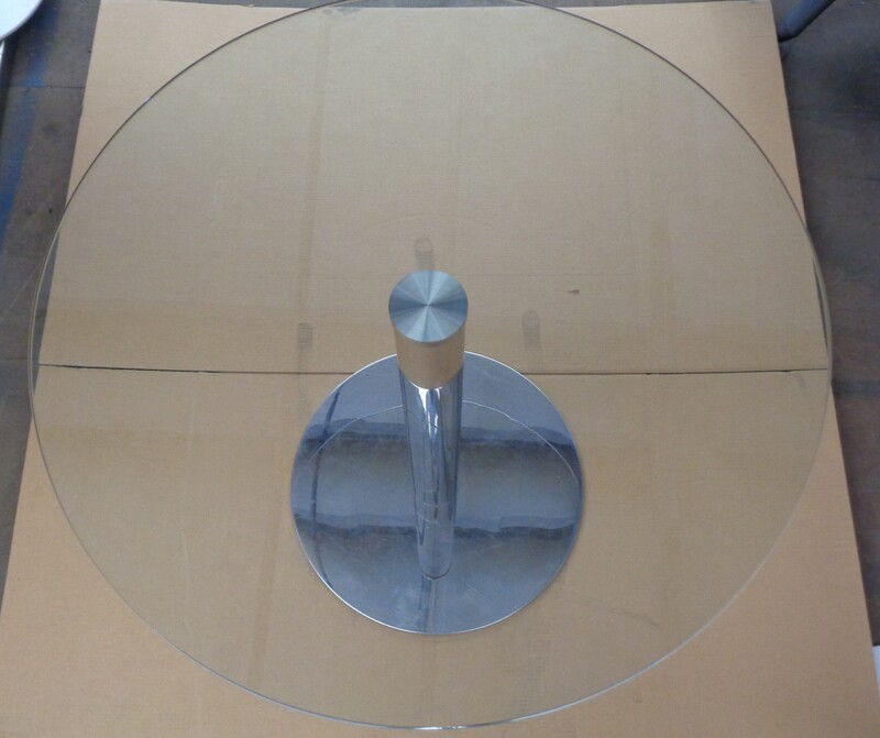 Glass and chrome circular table