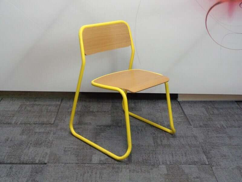 Oak and metal cafe chair