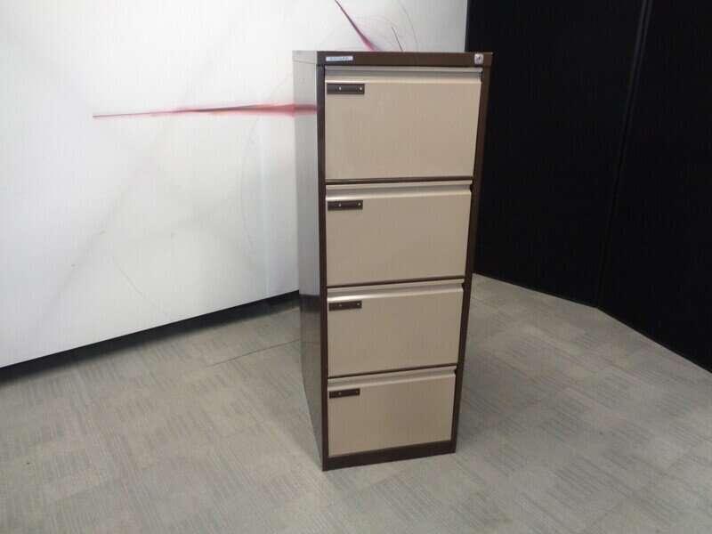 Brown 4 Drawer Filing Cabinet
