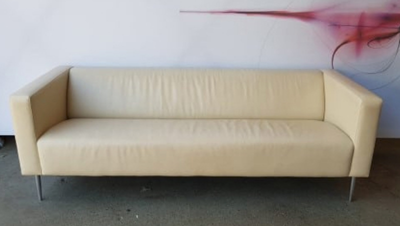 Davidson Highley cream leather two seater sofa