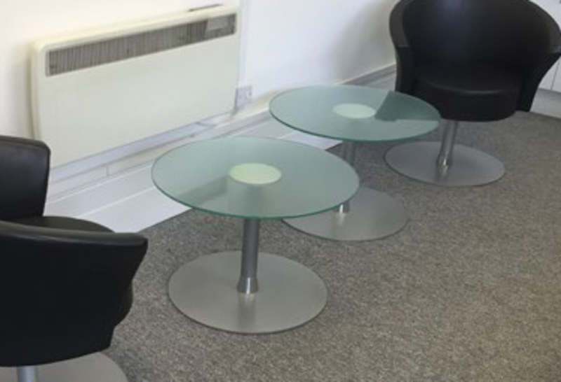 600mm diameter frosted glass coffee tables