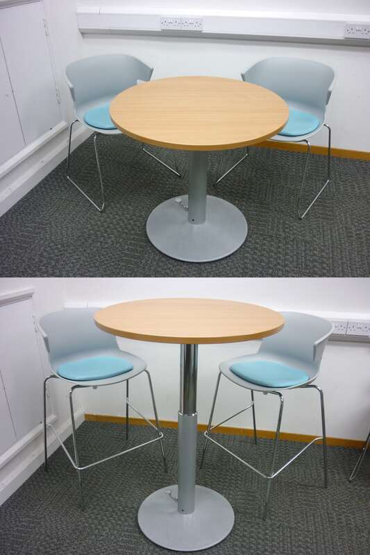 Circular height adjustable table  Choice of tops