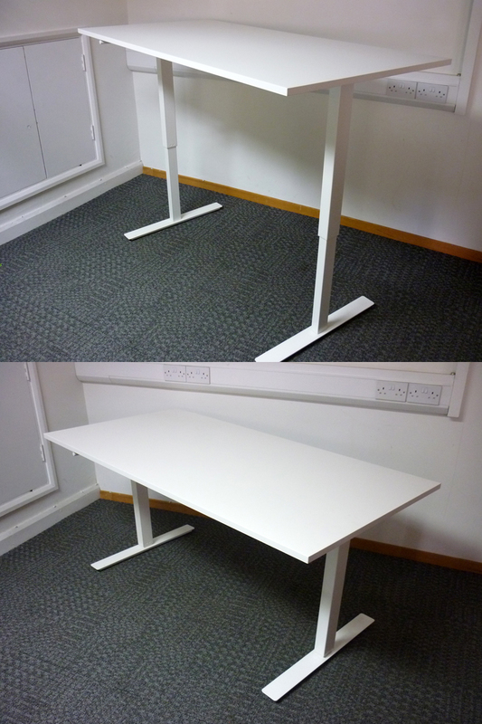 1600x800mm white hand crank sit/stand desk