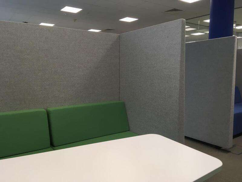 Grey/blue or green acoustic sofa pods