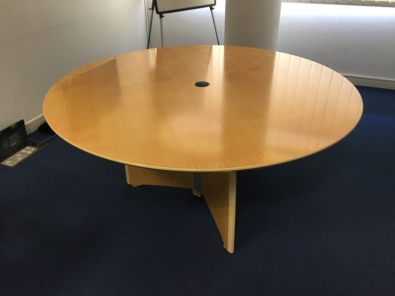 1500mm diameter Verco Intuition maple veneer circular table