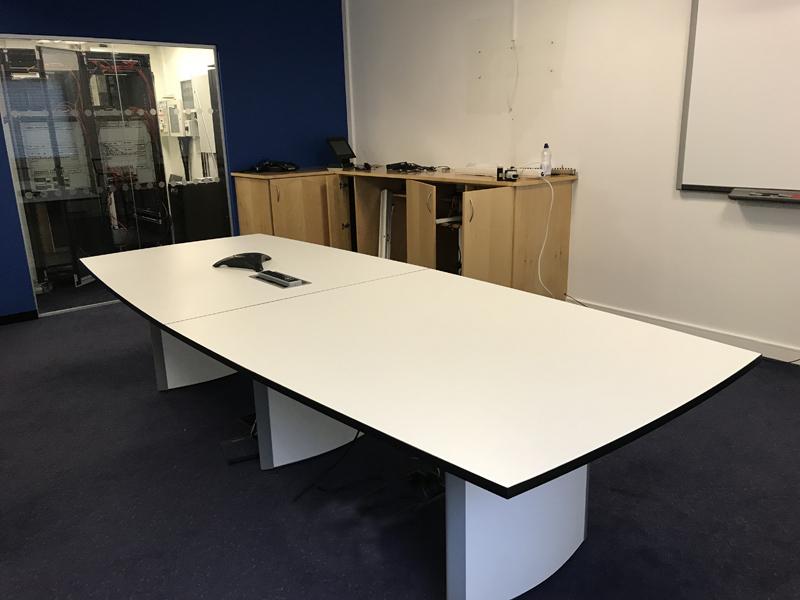 3200 x 1300/1100mm white Verco boardroom table