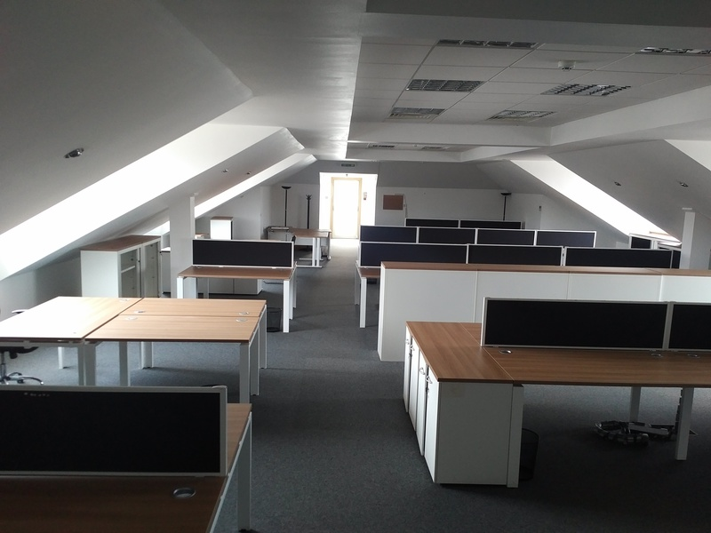 Buronomic Atomic havana/white desks in 1600w mm singles and benches