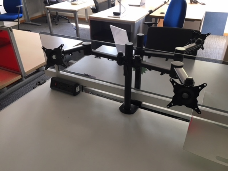 Black double monitor arms
