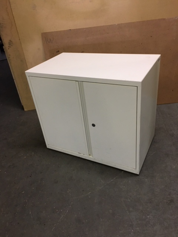 Desk high white metal double door cupboards