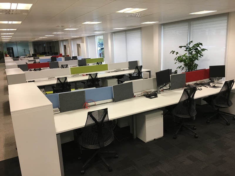 Herman Miller Sense white 1600x800mm bench desks & screens