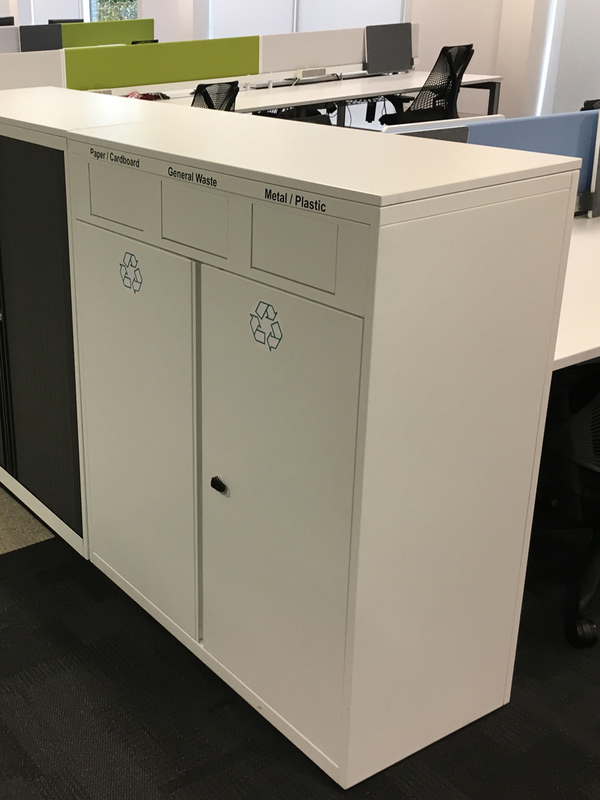1180mm high Bisley white recycling units